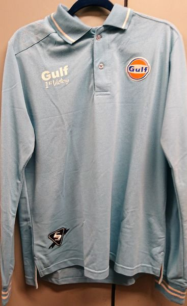 GULF VINTAGE POLO LIGHT BLUE LONG XL